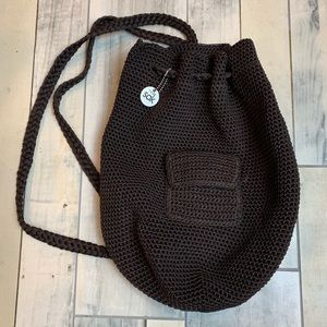 The Sak crocheted bucket bag back pack brown j465